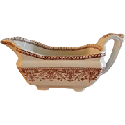 "T & R Boote Ironstone Brown Transferware Gravy/Sauce Boat ""Tournay"" Pattern"