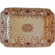 "T & R Boote Ironstone Brown Transferware Medium Size Platter ""Tournay"" Pattern"