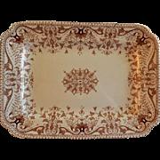 "T & R Boote Ironstone Brown Transferware Medium Size Platter ""Tournay"" Pattern"