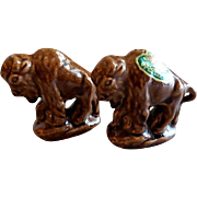 "Rosemeade Pottery ""Buffalo"" Figural Set of Salt & Pepper Shakers"