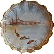 Martial Redon Limoges Cabinet Plate w/Scenic Fishing Motif #1 of 6