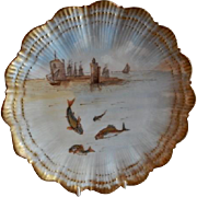 Martial Redon Limoges Cabinet Plate w/Scenic Fishing Motif #2 of 6