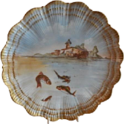 Martial Redon Limoges Cabinet Plate w/Scenic Fishing Motif #6 of 6