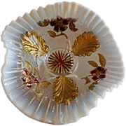 "Northwood Glass ""Blossoms & Palms"" Pattern Clear Opalescent Flared Trefold Bowl w/Goofus Paint Decoration"