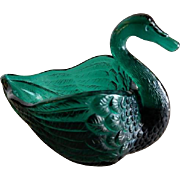 "Vintage Fenton Glass Company Emerald Green ""Open Swan Salt"""