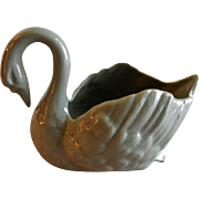"Lenox China Green/Gray ""Paddle-foot Swan"" Open Salt"