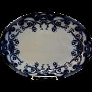 "A. J. Wilkinson - Royal Staffordshire Pottery - Flow Blue ""Iris"" Pattern Large Oval Platter"