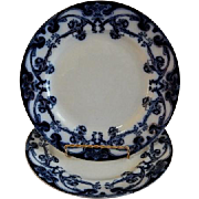 "A. J. Wilkinson - Royal Staffordshire Pottery - Flow Blue ""Iris"" Pattern Set of 2 Luncheon Plates"