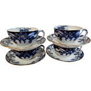 "A. J. Wilkinson - Royal Staffordshire Pottery - Flow Blue ""Iris"" Pattern Set of 4 Cups & Saucers"