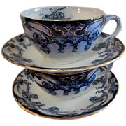 "A. J. Wilkinson - Royal Staffordshire Pottery - Flow Blue ""Iris"" Pattern Set of 2 Cups & Saucers"