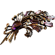 Eisenberg Sterling Silver, Diamond Rhinestones & Amethyst Crystals Fur Clip