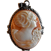 "Victorian Era Shell Cameo ""Lady's Profile"" Pendant w/Sterling Silver Mounting"