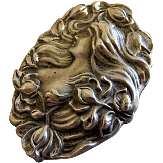 "Sterling Silver ""Art Nouveau"" Repousse Brooch of Image of a Gorgeous Lady"