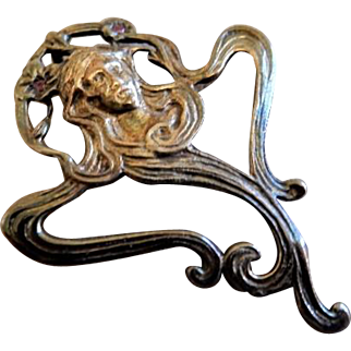 "Sterling Silver, Gold & Faux Rubies ""Art Nouveau"" Embossed Pendant - Image of Beautiful Lady"