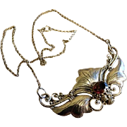 Vintage Sterling Silver & Faux Garnet Art Nouveau Style Floral Necklace