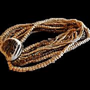 """Celia Sebiri"" Vintage Thirteen-Strand Multi Bead Torsade Necklace w/Designer Clasp"