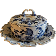 "Meissen ""Blue Onion"" Pattern Round Covered Butter Dish w/Attached Under-plate"