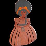 """Vintage Folk Art """"Debutante"""" Hand Painted Silhouette Door Stop"""