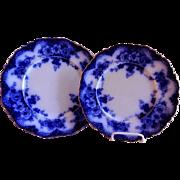 "Alfred Meakin Flow Blue ""Devon"" Pattern Luncheon Plate + Salad/Dessert Plate"