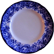 "Royal Doulton Burslem ""Melrose"" Pattern Flow Blue Luncheon Plate"