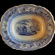 Staffordshire Blue Transfer-Ware Rectangular Serving Bowl -  Scenic Landscape Motif