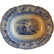 "Thomas Mayer Blue Transfer-Ware Oval Serving Bowl ""Canova"" Pattern"