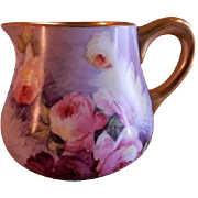 Blakeman & Henderson Hand Painted Cider Pitcher w/Tea Roses Motif - Artist Signed