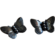 """Vintage Sterling Silver Figural """"Butterfly"""" Pins - Pair"""