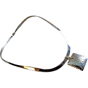 """Vintage Contemporary Style Sterling Silver """"Collar"""" Necklace w/Removable Square Pendant"""