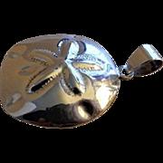 "Vintage Sterling Silver Contemporary Design ""Sand Dollar"" Pendant & Bale"