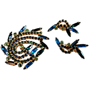 Juliana (DeLizza & Elster) Gold-Tone Brooch & Earrings w/Emerald Green, Sapphire Blue & Aqua Rhinestones