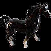 Vintage 1960's Porcelain Black Horse Figurine