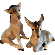 Vintage 1960's-1970's Lefton Porcelain Baby Donkeys - Pair