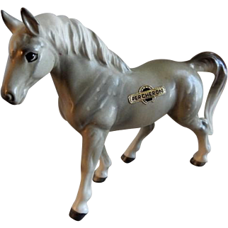 Vintage 1960's Japan Porcelain Percheron Horse Figurine