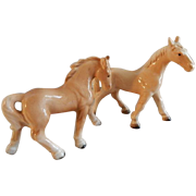 Vintage 1960's Japan Porcelain Palomino Horse Figurines - Pair