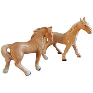 Vintage 1960's Japan Porcelain Palomino Horse Figurines - Pair