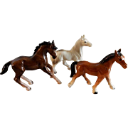 Vintage 1960's Porcelain Bay, Arabian & Chestnut Horse Figurines - Group of Three