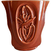 "Red Wing Pottery Mid-Century ""Embossed Bird-of-Paradise Floral"" Vase - B 2000"