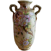Noritake Japan Hand Painted Floral Vase w/Cherry Blossom Motif