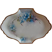 Richard Ginori Studio Hand Painted Dresser Tray w/Forget-Me-Not Floral Motif - Artist Signed