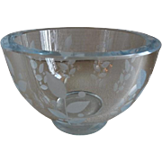Orrefors Glassworks Mid-Century Engraved Crystal Candy/Nut Bowl