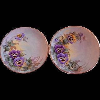 Samuel Sherratt Studio Pair Hand Painted Plates w/Purple & Yellow Pansy Motif