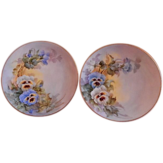 Samuel Sherratt Studio Pair Hand Painted Plates w/Blue & White Pansy Motif