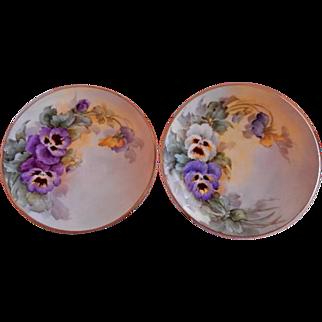 Samuel Sherratt Studio Pair Hand Painted Plates w/White, Blue & Purple Pansy Motif