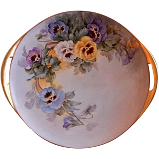 Samuel Sherratt Studio Pair Hand Painted Serving Plate w/Blue, Yellow, Purple & White Pansy Motif