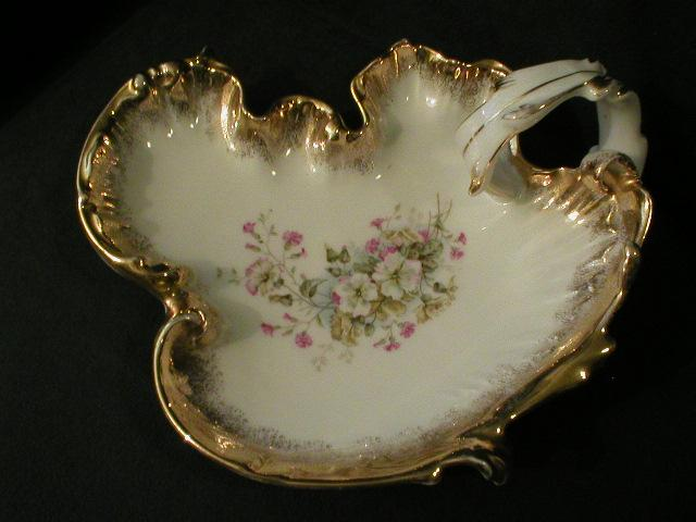 "Germany ""Floral Decor"" Serving Dish with Handle"