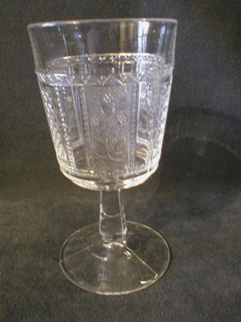 """Set of 6 Early American Pressed Glass """"Paneled Forget-Me-Not"""" Pattern Goblets"""