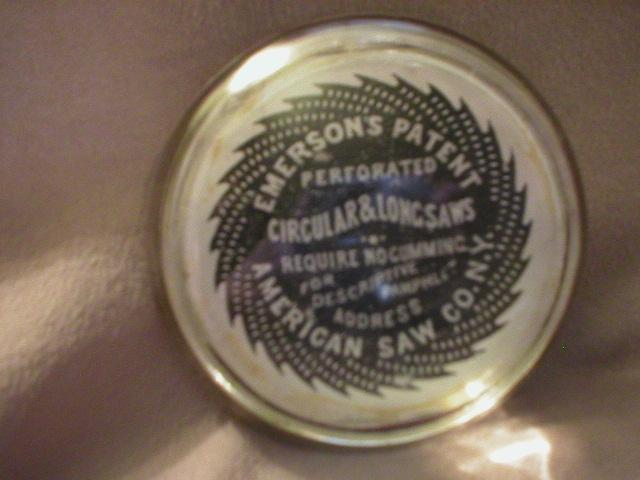 Advertising Glass Paperweight - American Saw Co., New York