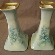 Pair of Limoges H.P. Candlesticks with Delicate Floral Decoration