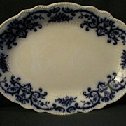 "W.H.Grindley ""Portman"" Pattern Flow Blue Platter"
